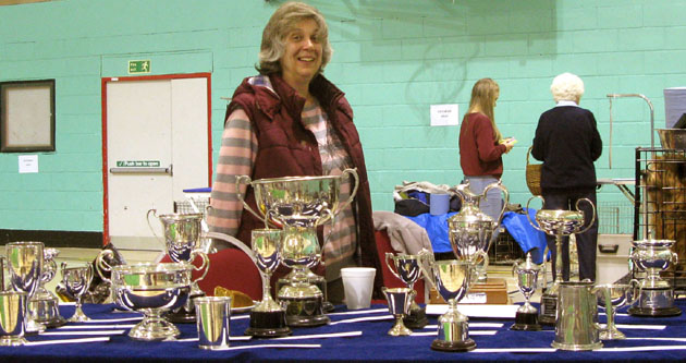 Jane Lloyd, Cup Steward for the Championship Show with the cups.