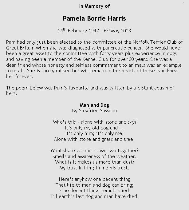 In memory of Pamela Harris